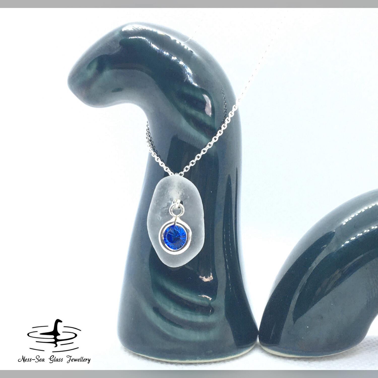 SEPTEMBER - Clear Loch Ness Sea Glass with Sterling Silver Sapphire Charm and Fine Sterling Silver Chain Necklace