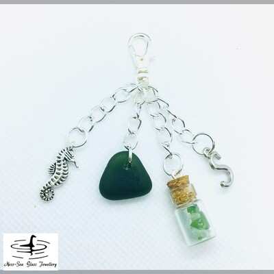 Loch Ness Sea Glass Handbag Charm with Green Sea Glass and Bottle of Multi Coloured Sea Glass Chips, Sea Horse Charm and Tibetan Silver Initial Charm
