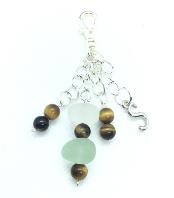 Clear and Blue Loch Ness Sea Glass Handbag Charm with Tiger Eye Gemstone Beads and Tibetan Silver Initial Charm