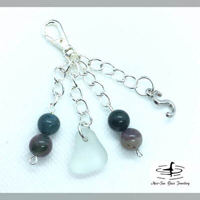 Blue Loch Ness Sea Glass Handbag Charm with Indian Agate Gemstone Beads and Tibetan Silver Initial Charm
