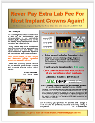Reduce Your Implant Lab Fee Course (4 CE Units)