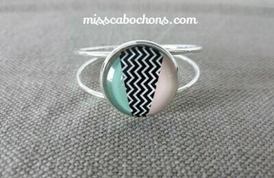 Bracelet cabochons rigide argenté 25 mm
