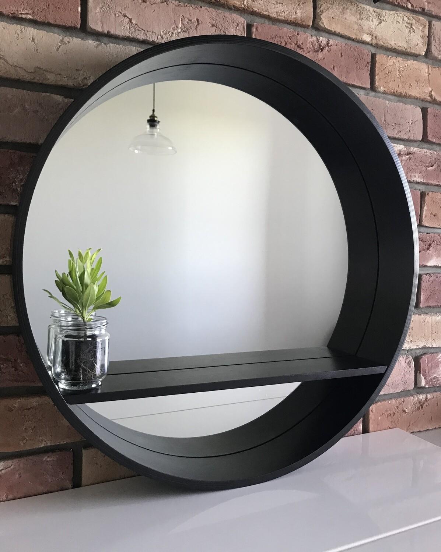 круглое зеркало Black в деревянной раме с полкой