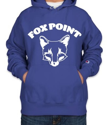 Fox Point Champion Adult 9 oz. Double Dry Eco® Pullover Hood White on Royal Blue
