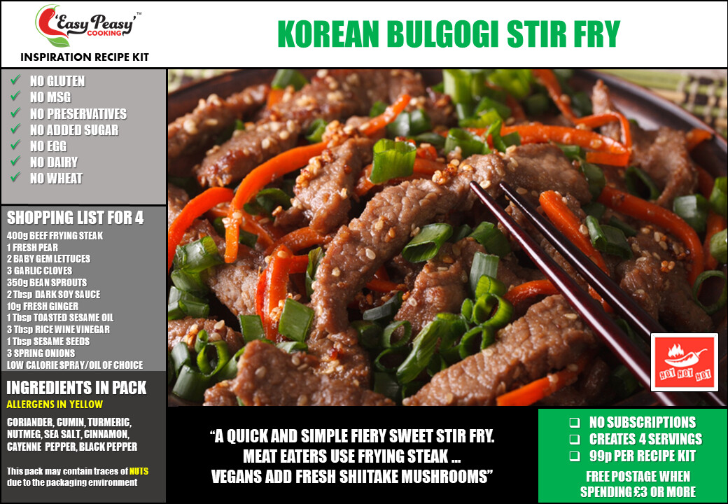 KOREAN BULGOGI STIR FRY (20g e)