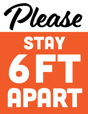 Stay 6ft Apart Sign