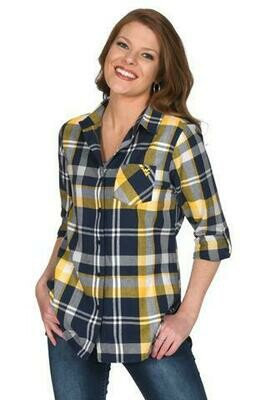 WV BOYFRIEND PLAID BUTTON-UP L UG