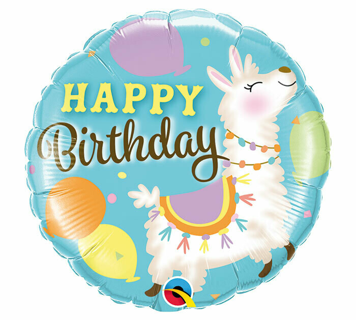 "18"" HAPPY BIRTHDAY PASTEL LLAMA BALLOON"