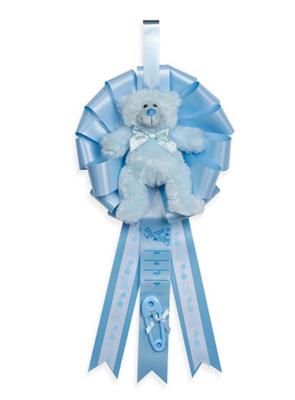 BIRTH ANNOUNCEMENT RIBBON W/BEAR BLUE