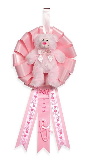 BIRTH ANNOUNCEMENT RIBBON W/BEAR PINK