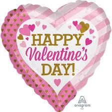 "17"" PINK & GOLD HEART HAPPY VALENTINE'S DAY BALLOON"