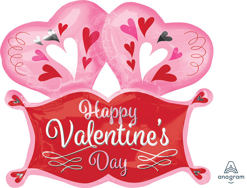 "29"" DOUBLE HEART & BANNER - HAPPY VALENTINE'S DAY BALLOON"