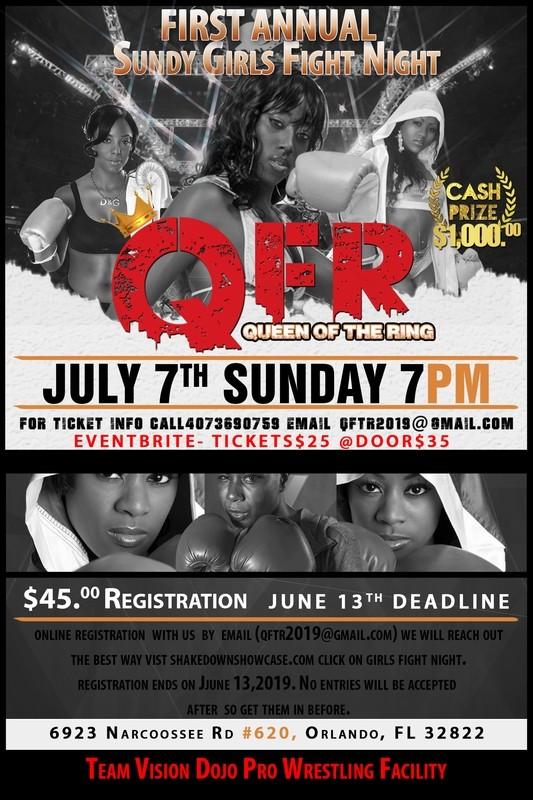 Girls Sunday Fight Night TOURNAMENT Registration Fee