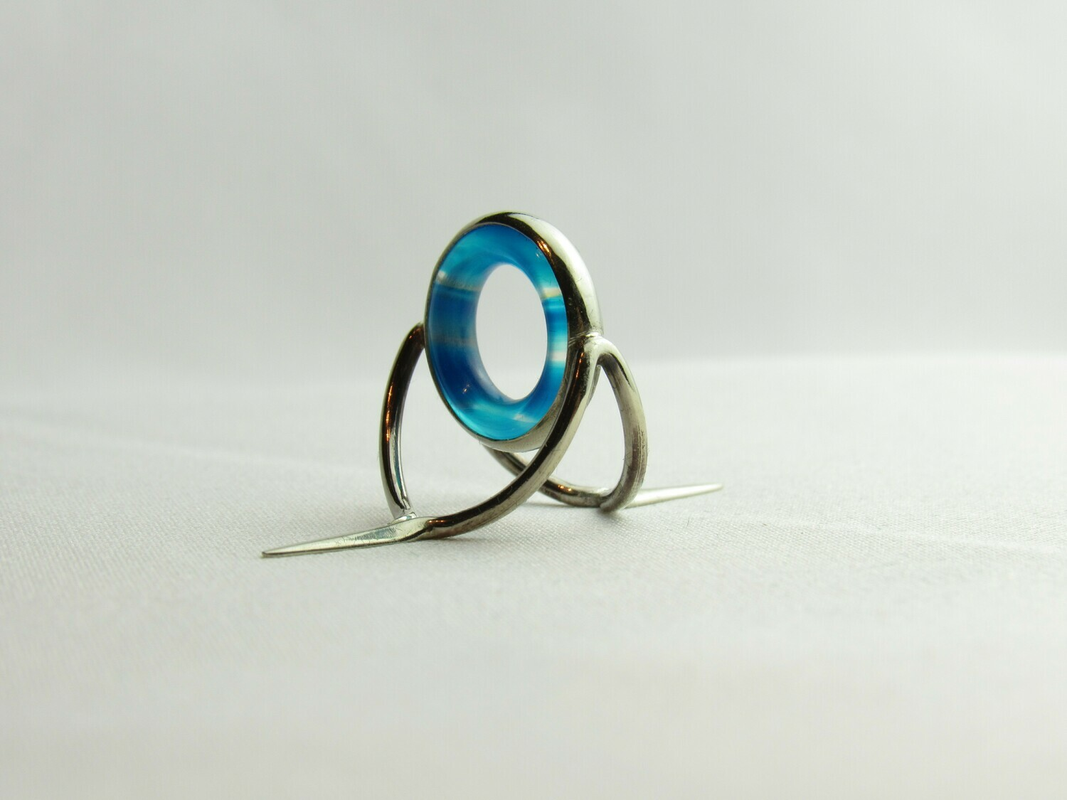 Agate Perfect Stripping Guide Ring 12mm Blue / banded