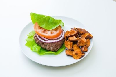 Lettuce Wrap Bison Burger with Sweet Potato Fries