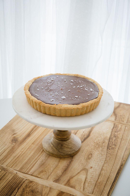 Vegan Chocolate Peanut Butter Tart with Flaked Sea Salt