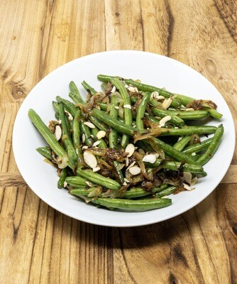 Sautéed Green Beans with Caramelized Onion and Sliced Almonds