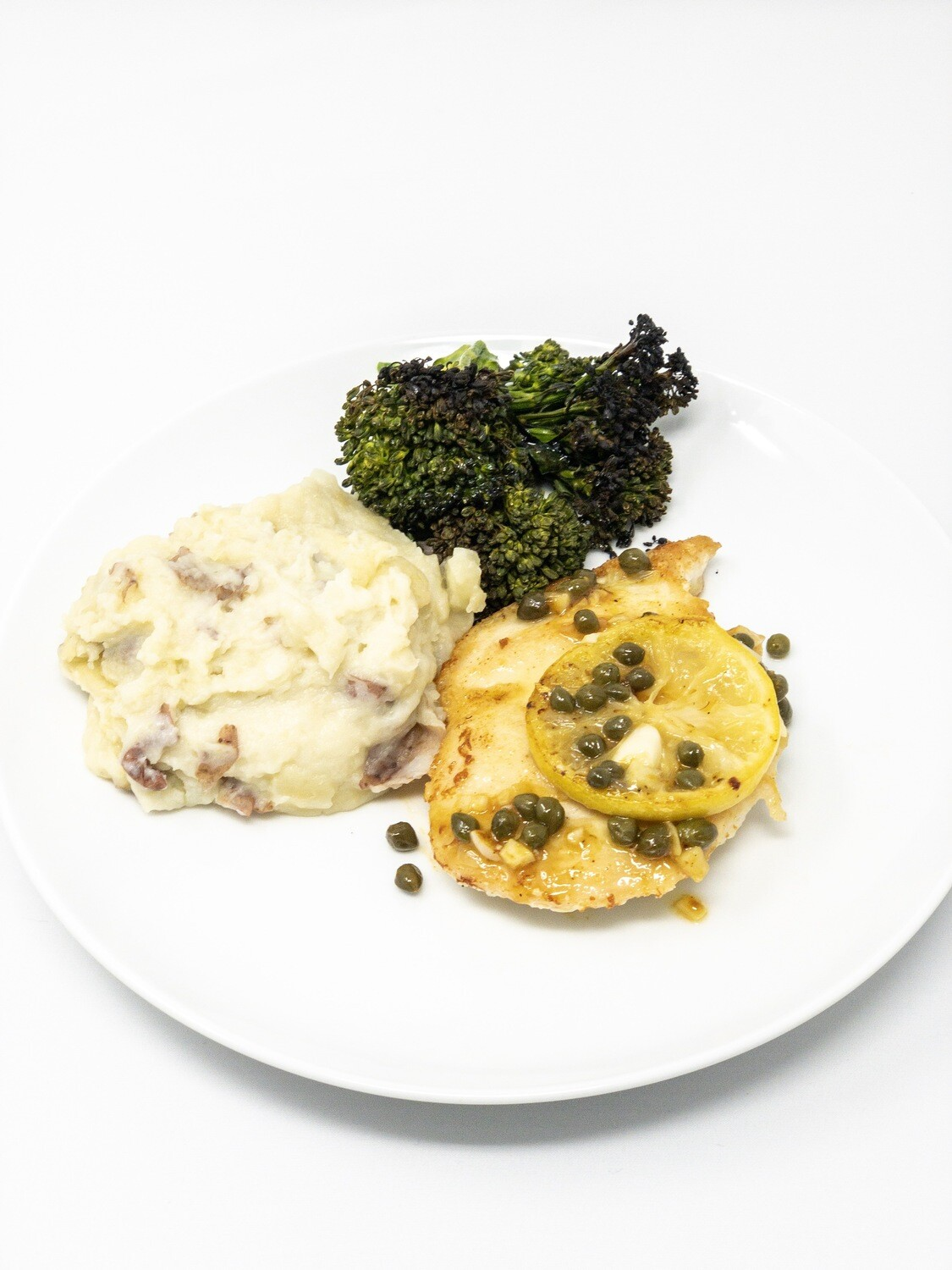 Chicken Picatta With Garlic Mashed Potatoes And Roasted Broccoli