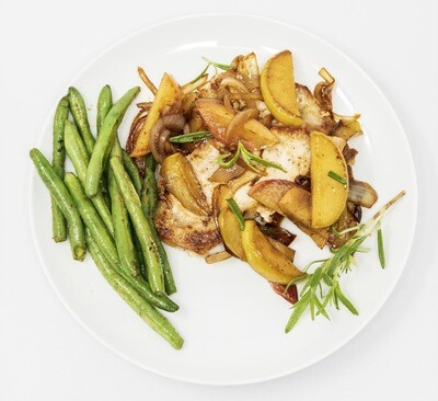 Seared  Pork chops With Spiced Sautéed Apples, Caramelized Onion And String Beans