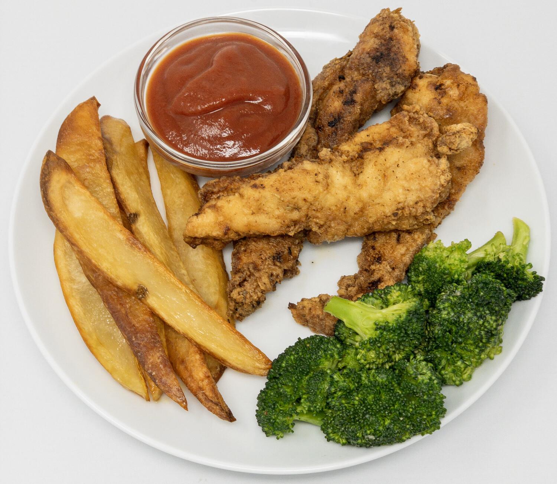 Chicken Fingers, Fries, Broccoli