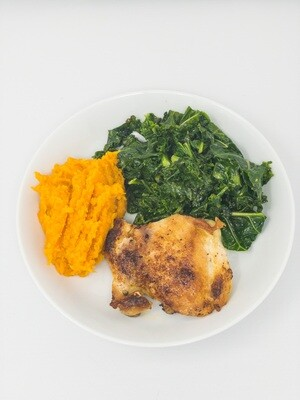 Classic Crispy Chicken Thigh, Mashed Sweet Potato and Sautéd Kale