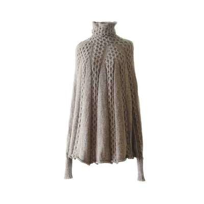 Fine hand knitted poncho / cape with cable pattern 100% baby alpaca Taupe