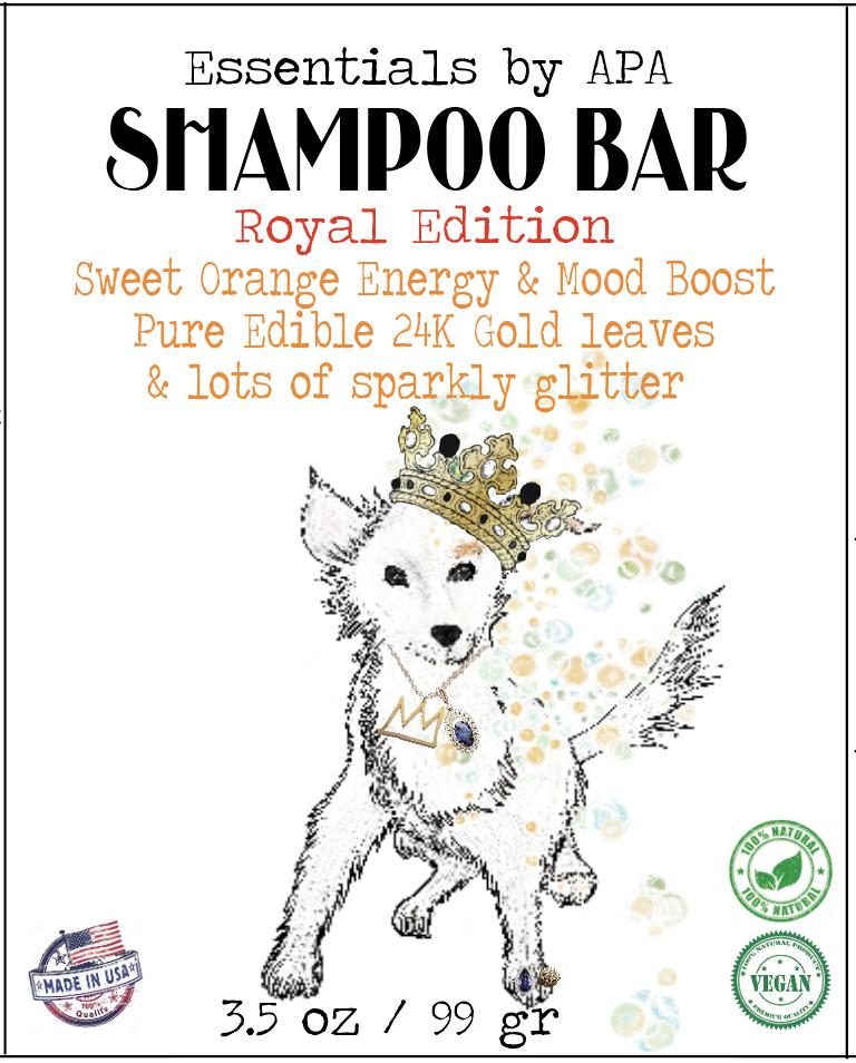 100% Natural Organic Shampoo Bar for Royal Dogs ~ Sweet Orange & Edible  Genuine 24K Gold Leaf Flakes