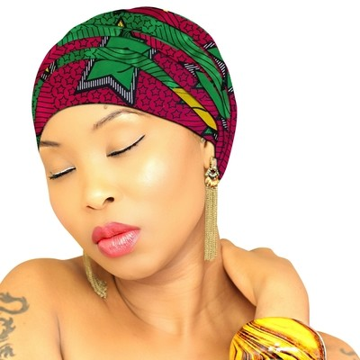 African Head Wraps - Pink Green Star