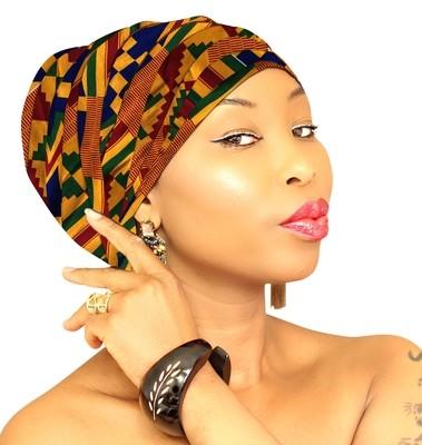 African Head Wraps - Kente Blue
