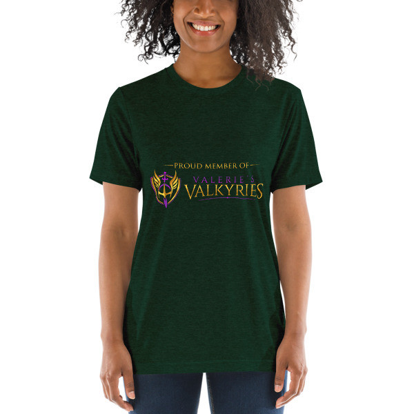 Short sleeve t-shirt- Valerie's Valkyrie logo/front