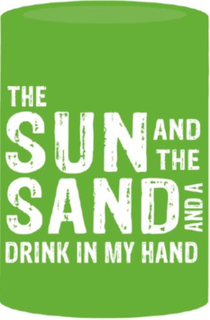 Can Cooler - The Sun And The Sand - Lime Green/White