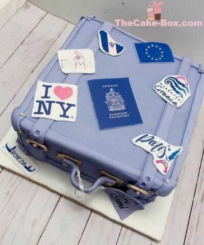 Blue Travel Bag Themed Cake