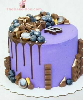 Blue Chocolate dripping Themed Cake