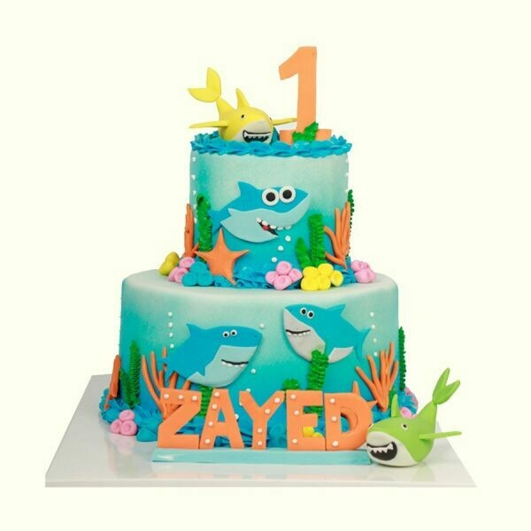 Sharky Themed Boys Theme Cake