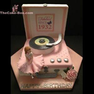 Pink Retro Music Box Themed Cake
