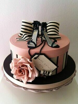 Pink Shoe Box and Shoes Themed Cake for Her