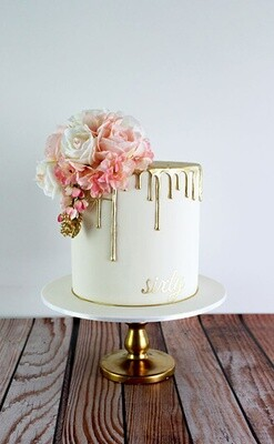 Golden Drip Floral Cake