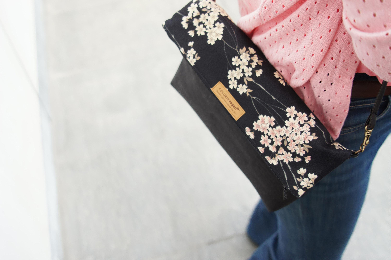 Cork handbag vegan black with Japanese cherry flowers