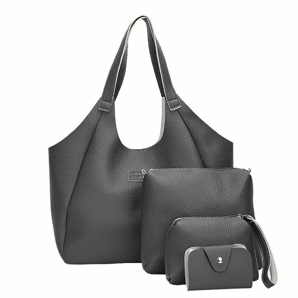 291332e6cc2 Women Bag Set Top-Handle Big Capacity Female Simple Handbag Fashion  Shoulder Bag Purse Ladies PU Leather Crossbody Bag#H30