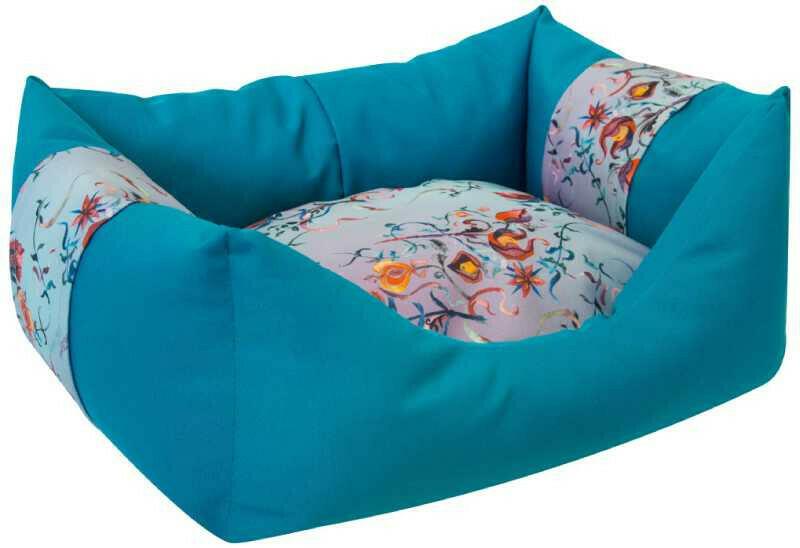 """Лежанка Zooexpress Пухлик """"Дикие травы"""" мебельная ткань (бирюзовая) для собак 55х40х23 см"""