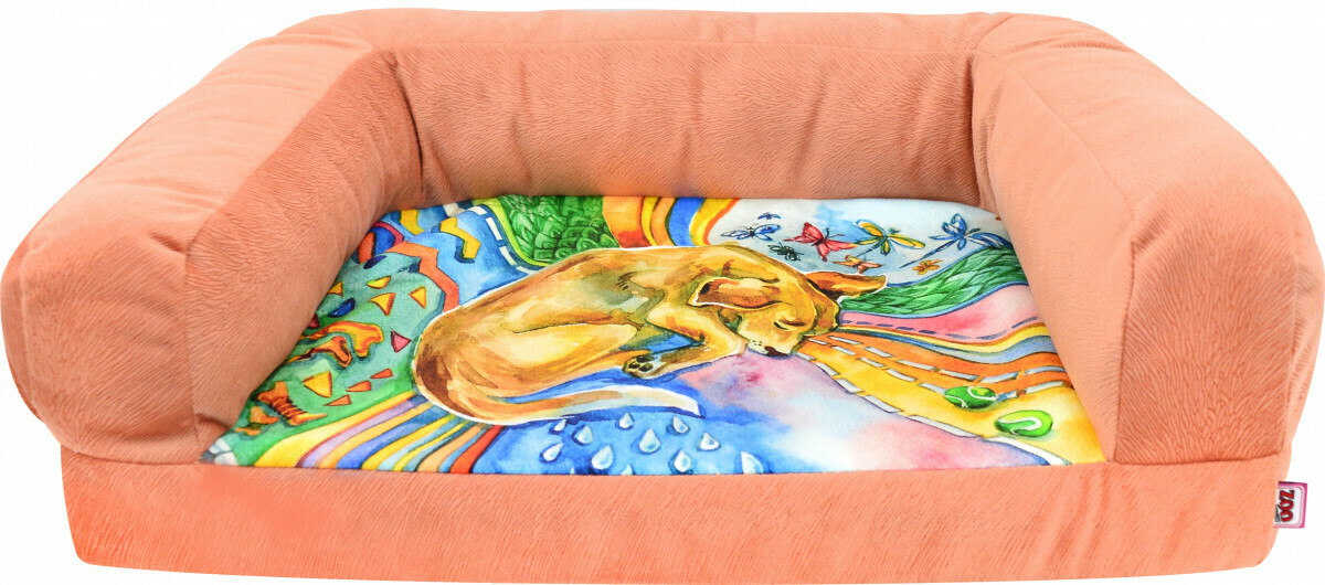 """Лежанка Диван """"Сны"""" рисунок Собака мебельная ткань (коралловая) №1 54*38*13 см"""
