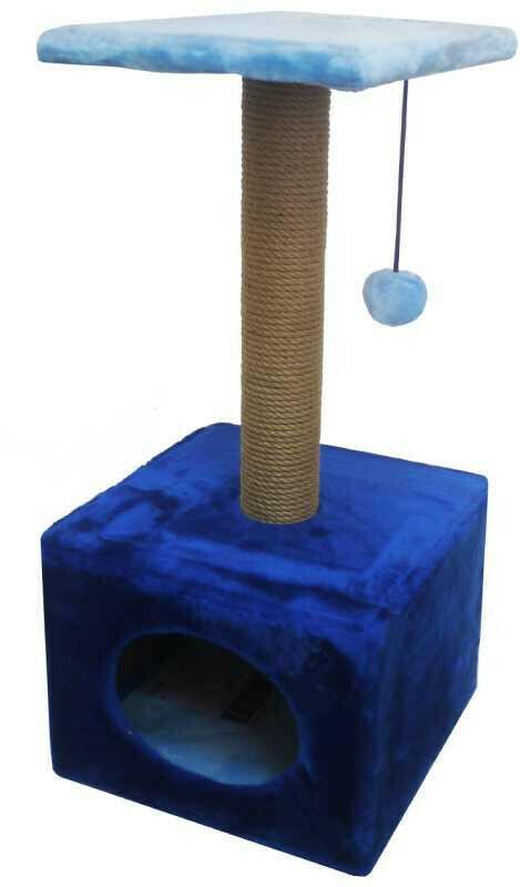 Комплекс Куб малый с полкой мех однотонный 34х34х72 см
