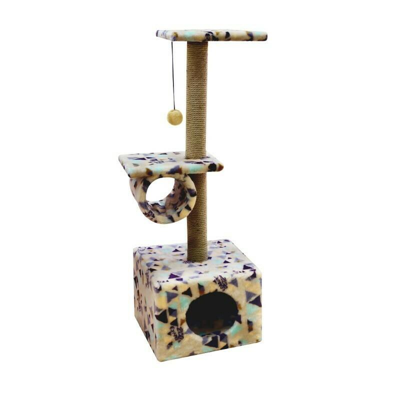 Комплекс Куб 2 полки с трубой мех с рисунком