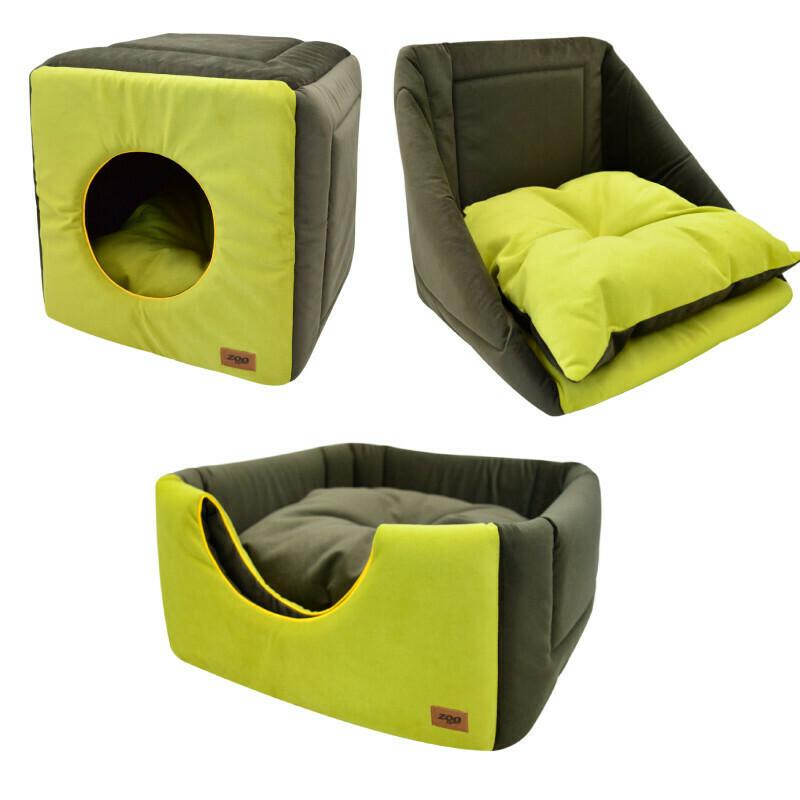 """Дом куб-трансформер """"Ампир"""" мебельная ткань+плюш (оливковый/зеленый)"""