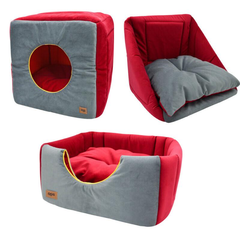 """Дом куб-трансформер """"Ампир"""" мебельная ткань+плюш (серый/бордо)"""