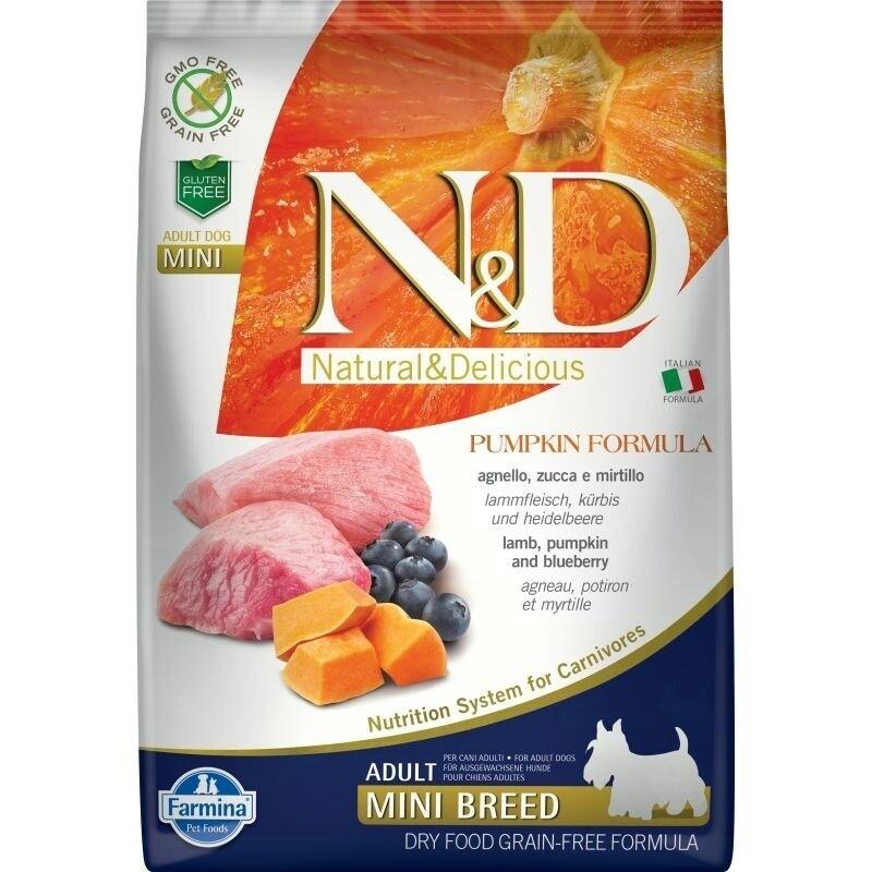 Farmina N&D Dog GF Pumpkin lamb & blueberry adult mini с ягненком, черникой и тыквой для взрослых собак мелких пород-2.5 кг.