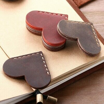 2 Pack Handcrafted Vintage Leather Corner Page Marker