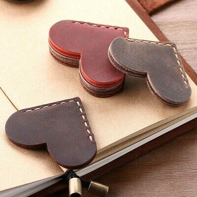 2 Pack Handcrafted Vintage Leather Corner Page Marker