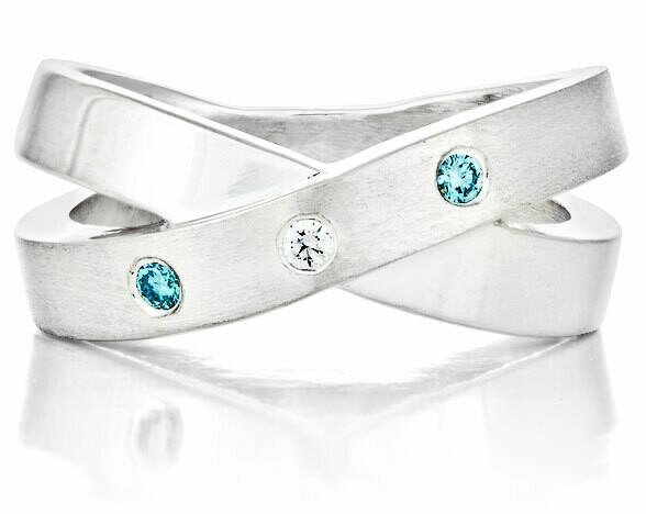 French Kiss—Silver/2 Blue Diamonds