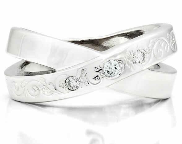 French Kiss Deux—Silver/Diamond